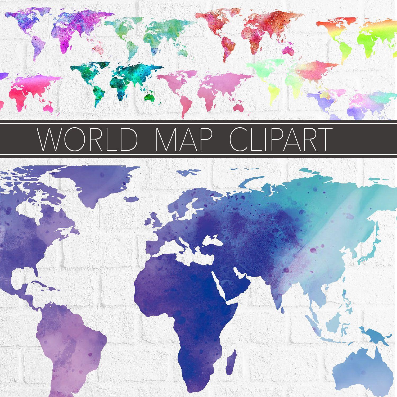 World map clipart set clip art illustrations graphics artwork world map clipart set clip art illustrations graphics artwork digital clipart craft supplies hand drawn art gumiabroncs Images