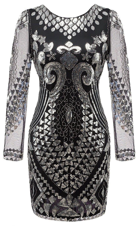 6916c2adc54ec Women's 1920s Gatsby Sequin Art Deco Scalloped Flapper Dress ...