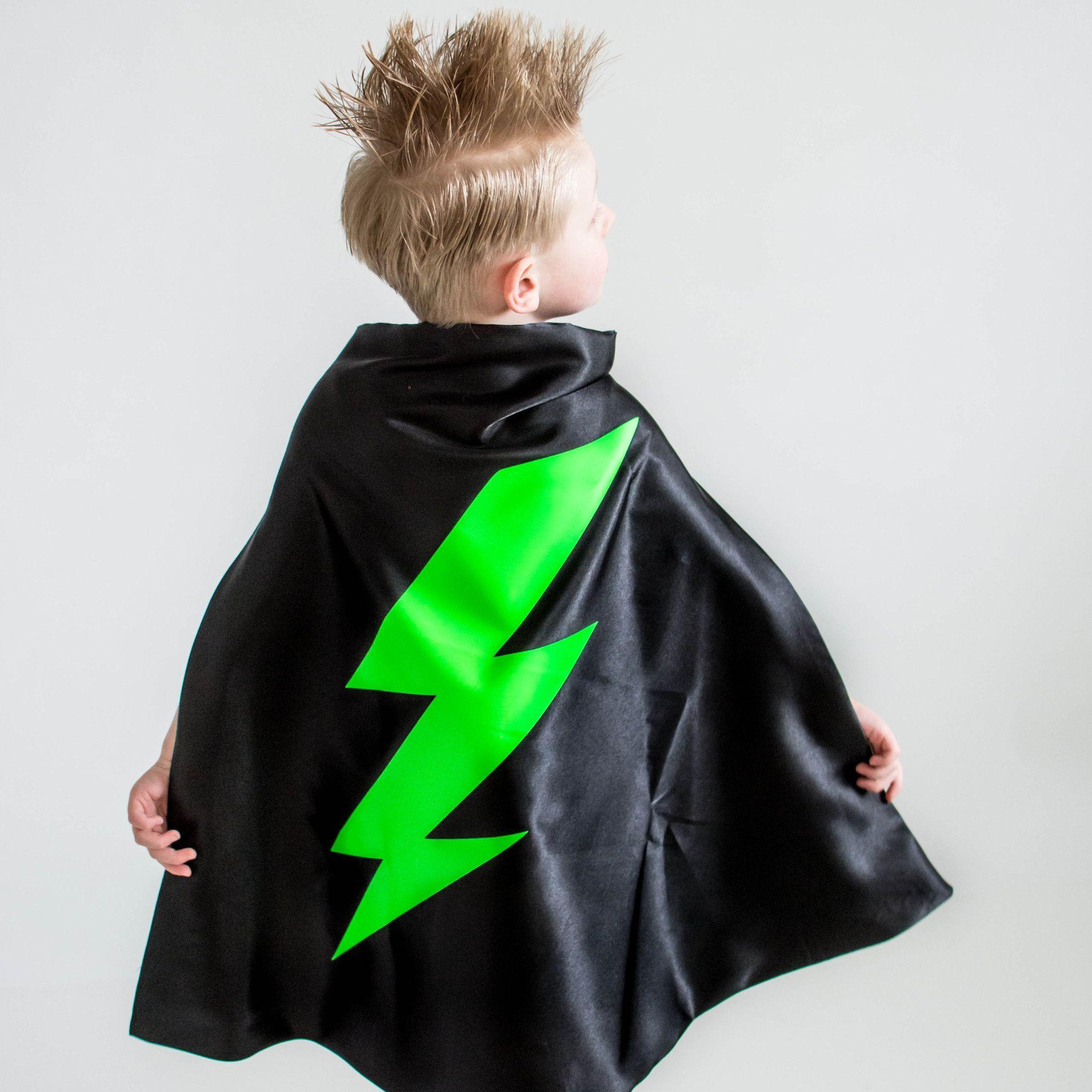 Superhero NEON GREEN Lightning Bolt Costume, BLACK superhero cape ...