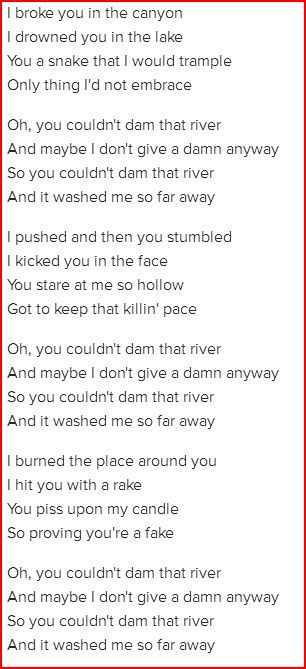 Lyrics To Dam That River By Alice In Chains Love It So Much