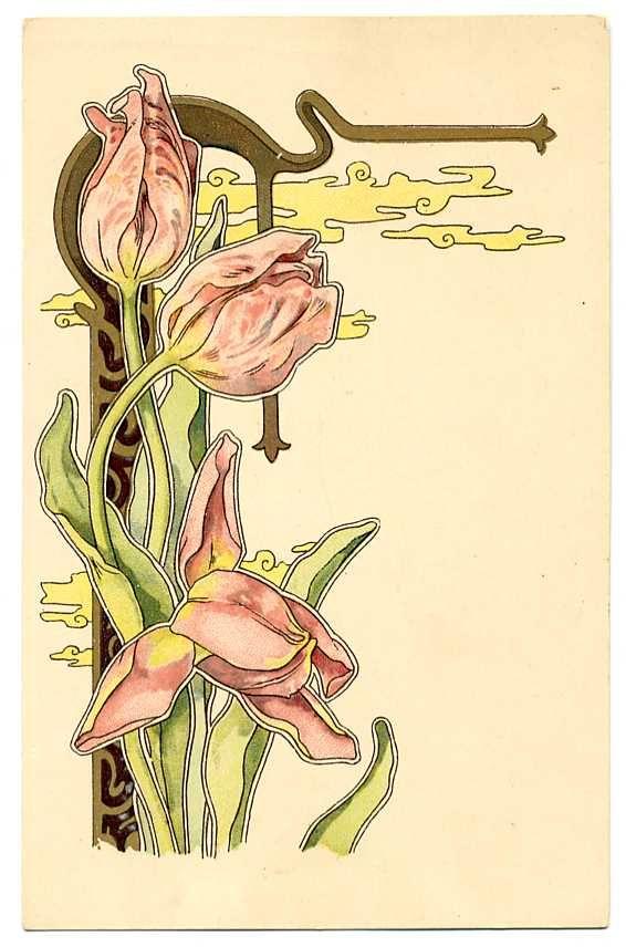 art nouveau flowers … | Art nouveau insp. in 2019…
