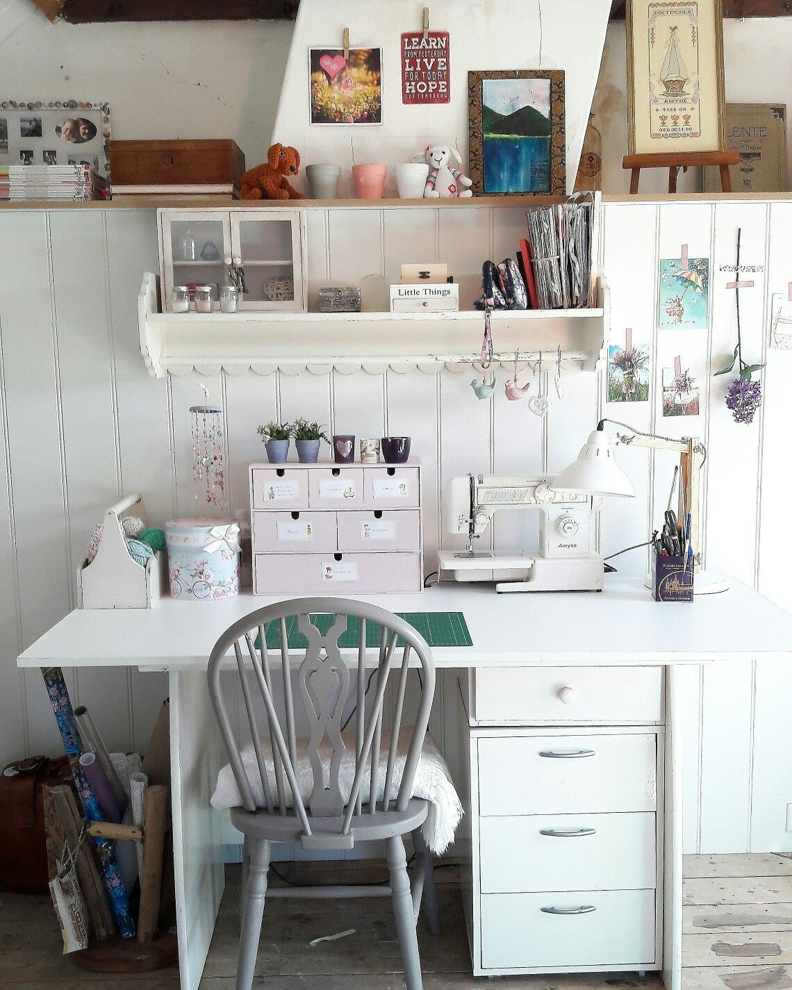 Work Space Hobby Room Atelier Craft In Our Attic Rustic Romantic Farmhouse Style