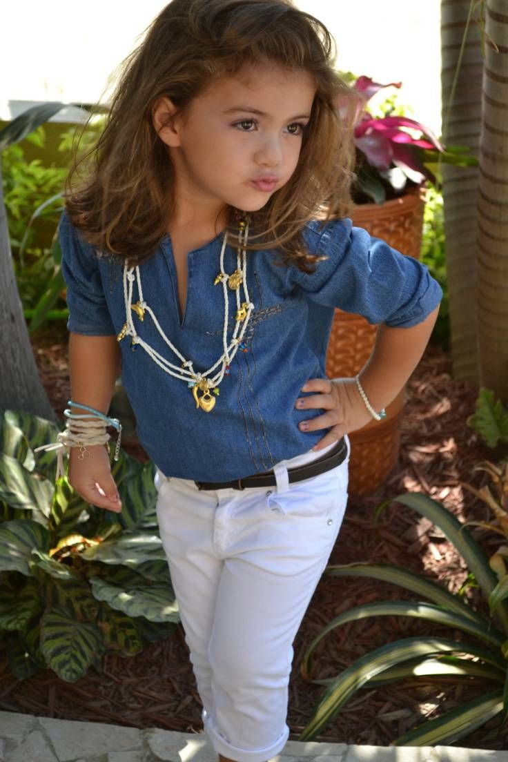 Little girl outfit: white jeans, navy and white striped top with ...
