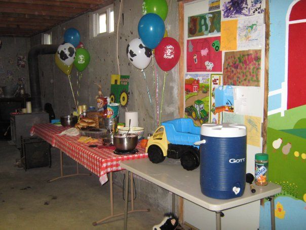 Farm Theme Party - our food table was stocked w/ down home cook'in! We had things like mac n' cheese and hamburgers off the grill!