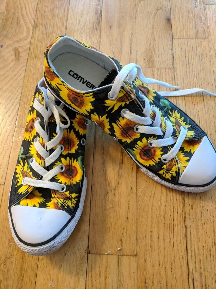 35ad2dfbd3 Sunflower Print Youth Converse size 3  fashion  clothing  shoes  accessories   kidsclothingshoesaccs  girlsshoes (ebay link)