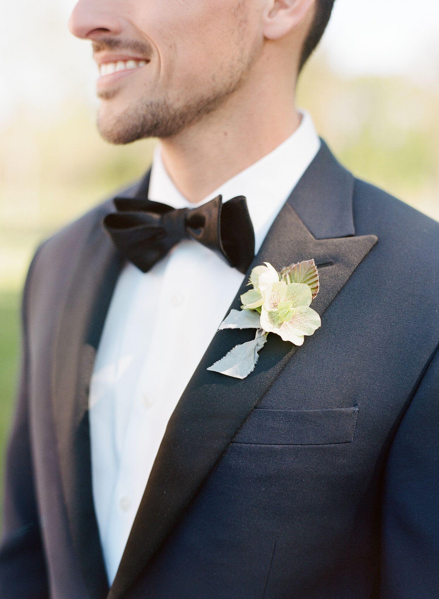 Midnight Blue Tuxedo Ivory Bouquet Wedding Flower Bouquet