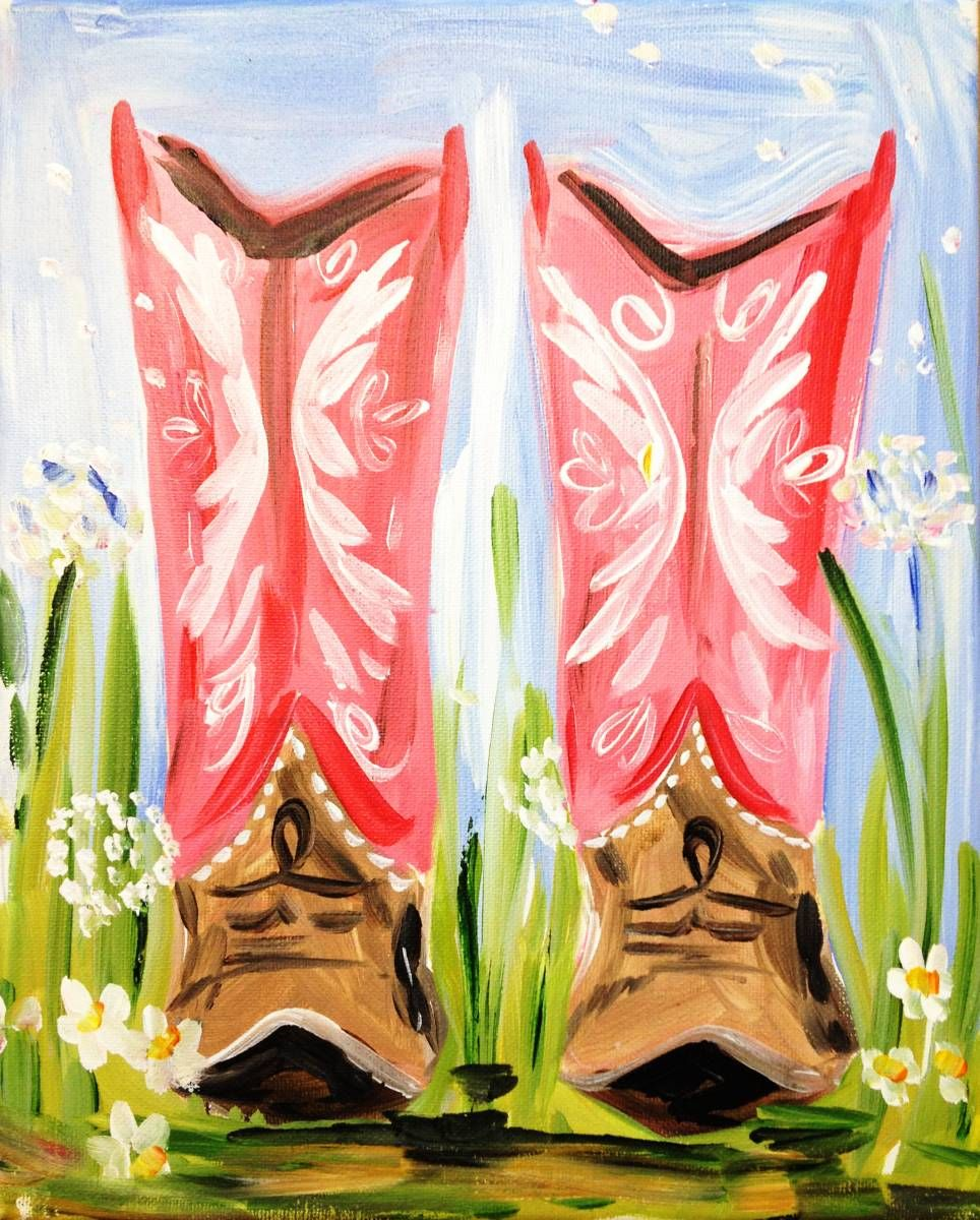 I don\'t wear cowgirl boots but this painting is way too cute!   Art ...