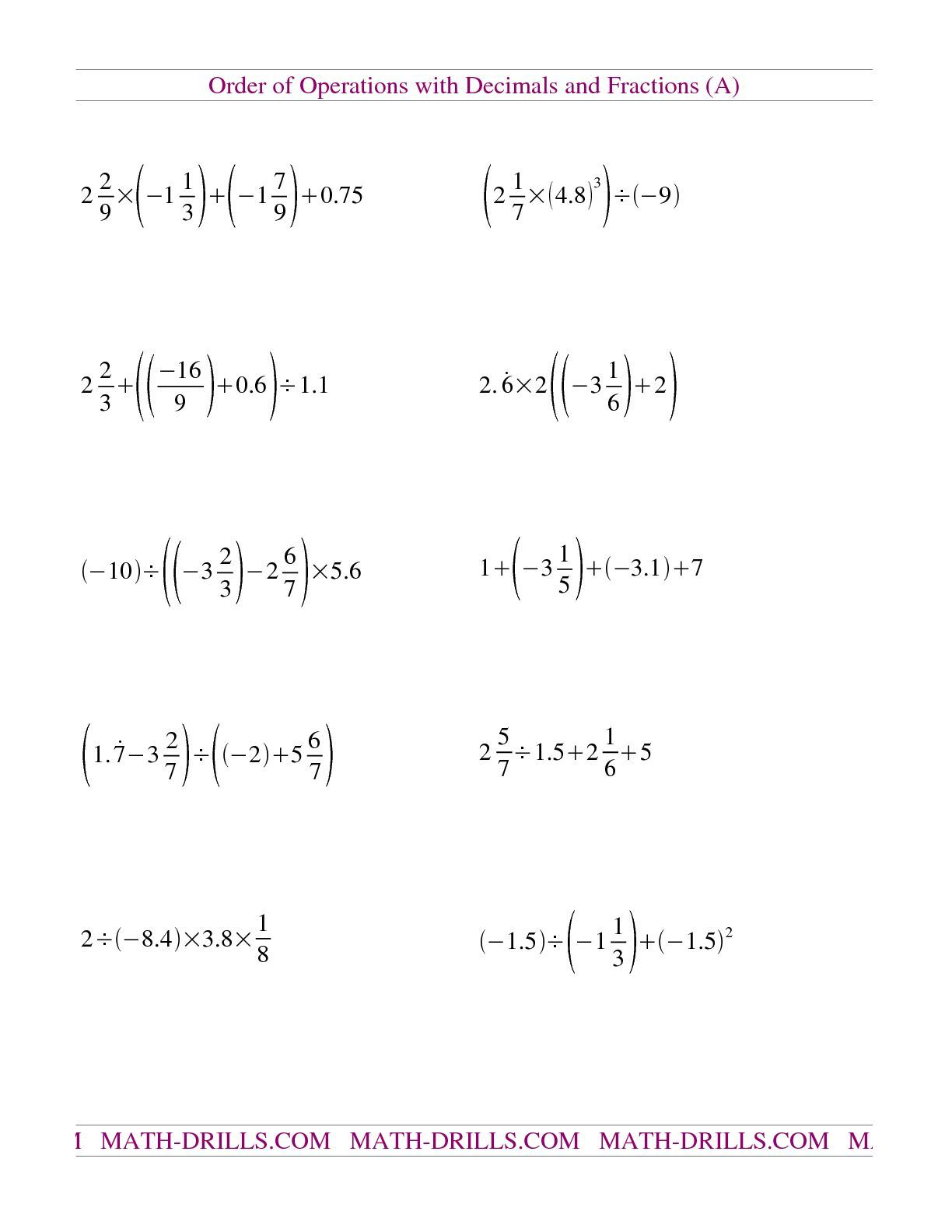 Worksheets Free Order Of Operations Worksheets the decimals and fractions mixed with negatives a math worksheet from order of operations page at drills co