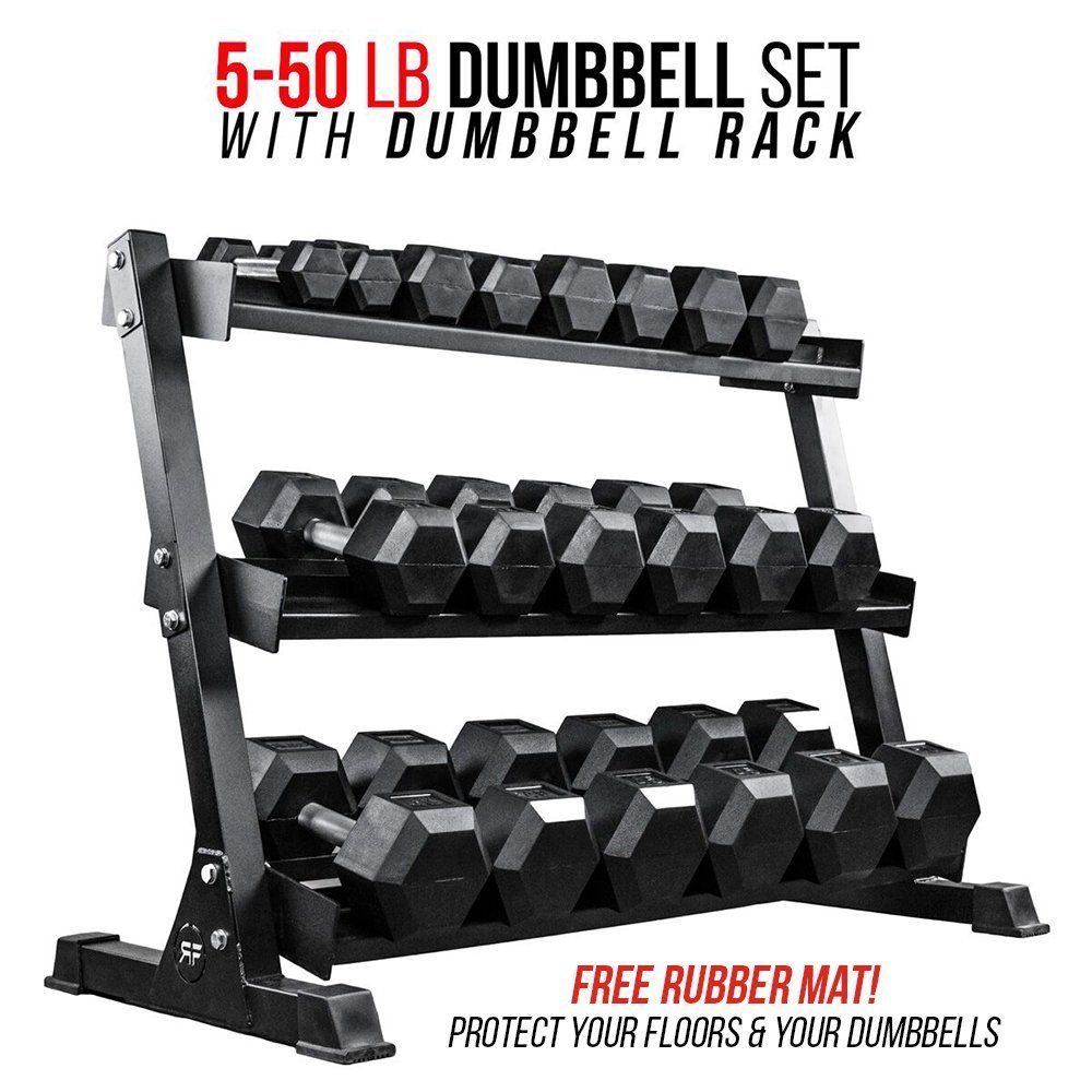 rep rubber hex dumbbell set with racks