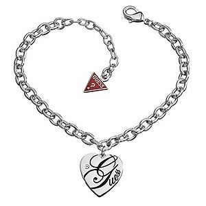 Steal her heart with this stylish Guess bracelet. In sleek rhodium plating, this bracelet features a polished heart shaped disc engraved with the Guess signature and a single sparkling crystal embellishment. Finished with the iconic Guess logo hanging from its fastening. Brand Name-Guess Merchant Name-H.Samuel Some Specs-Birthstone: Crystal; Material: Rhodium [...]