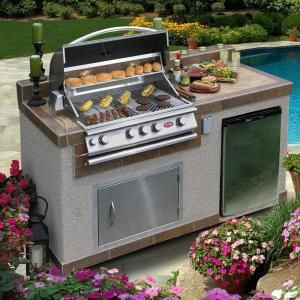Cal Flame Outdoor Kitchen 4Burner Barbecue Grill Island With Inspiration Outdoor Kitchen Home Depot 2018