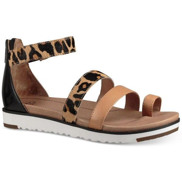 Ugg Zina Platform Flat Sandals 130 Liked On Polyvore Featuring Shoes Celp Strap Stry Leopard