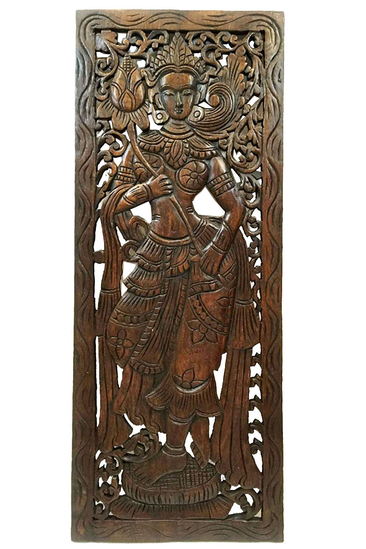 Wood Carved Wall Art Large Carved Wood Panel Thai
