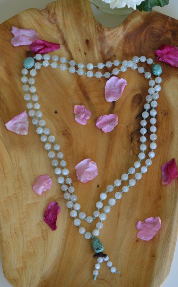 Knotted 108 Moonstone mala  Russian by inlovewithnowjewelry