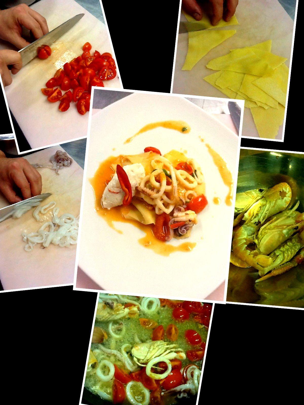 Stracci di pasta con calamari ricotta e crudo di scampi for Cucinare per 300 persone