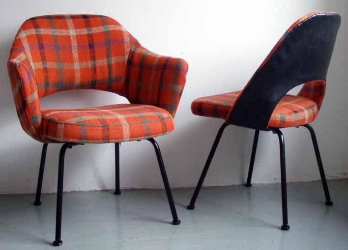 chaise et fauteuil 39 plaid 39 eero saarinen knoll ann es 60 70 ann es vintage maison pop. Black Bedroom Furniture Sets. Home Design Ideas