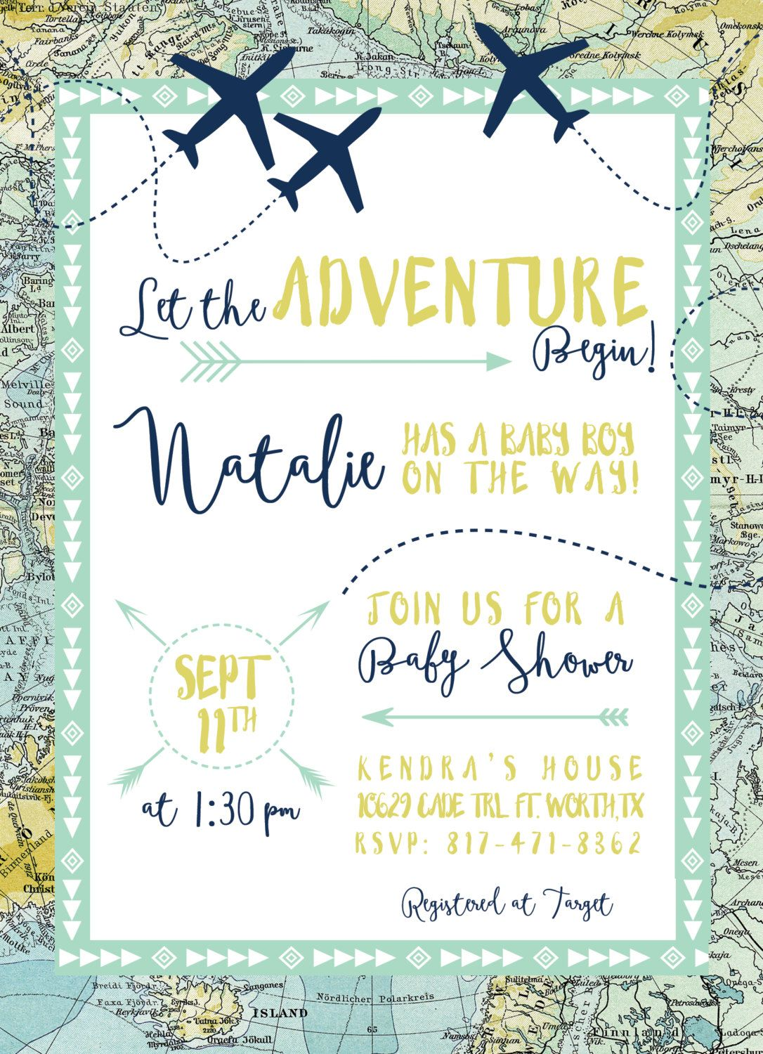 Adventure Maps Baby Shower Invitation Airplanes Travel Theme