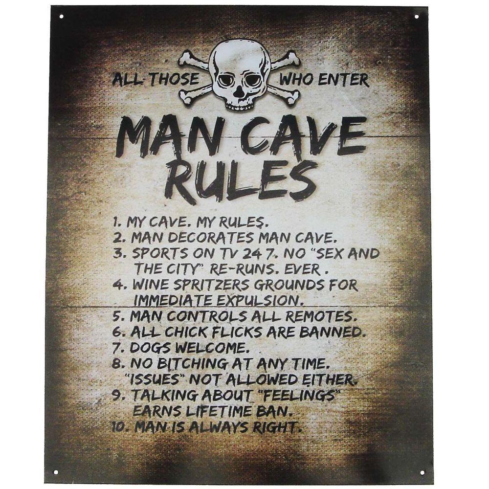 Tin Metal Skull Crossbones Man Cave Rules Sign Garage Pub Bar Tavern Wall Decor Man Cave Rules Sign Man Cave Rules Man Cave Garage
