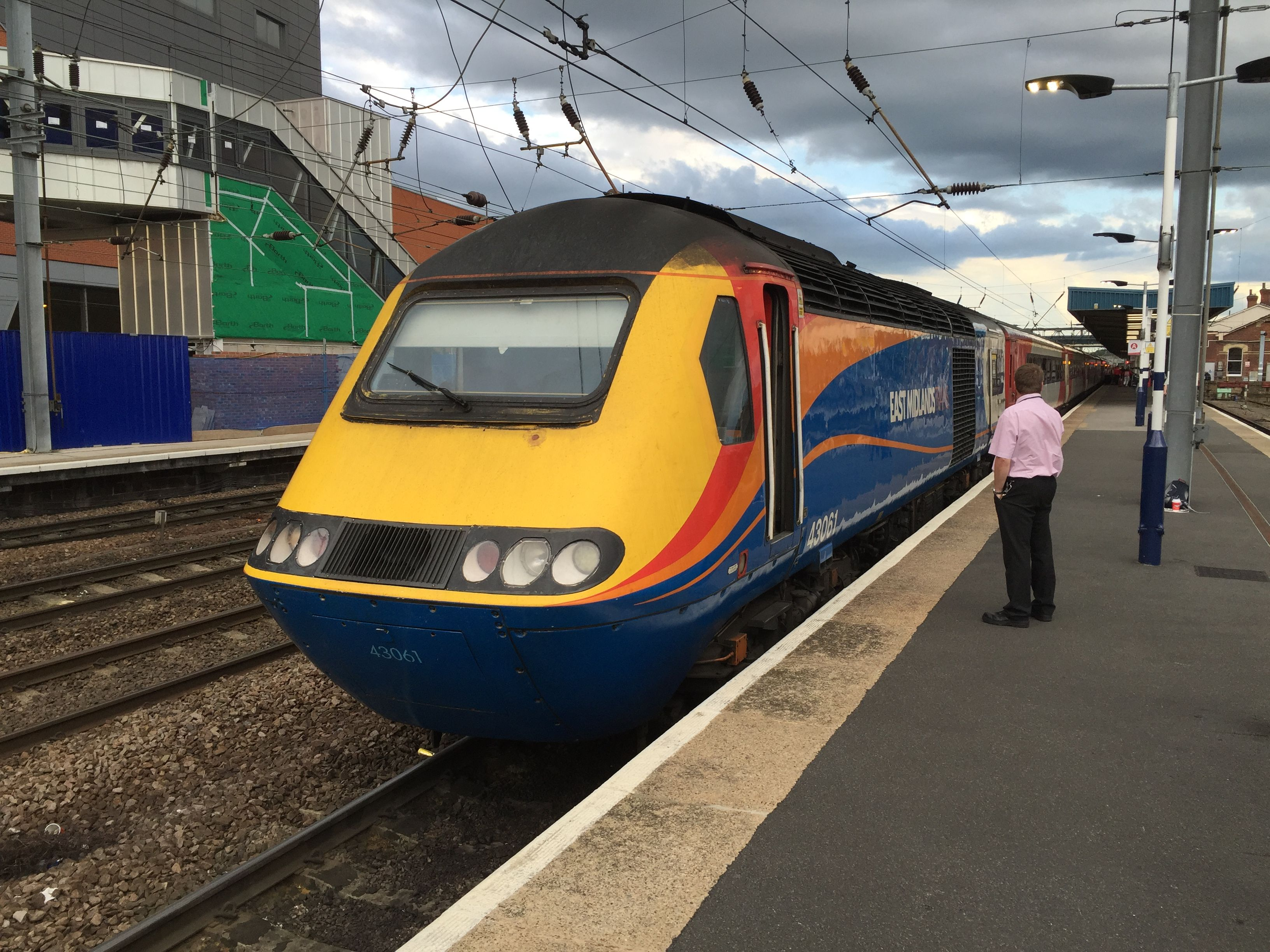 East Midlands Trains Hst Powercar 43061 Waits To Depart Doncaster With A Virgin Trains East Coast Train On 24th June 2016 Train Doncaster East Coast