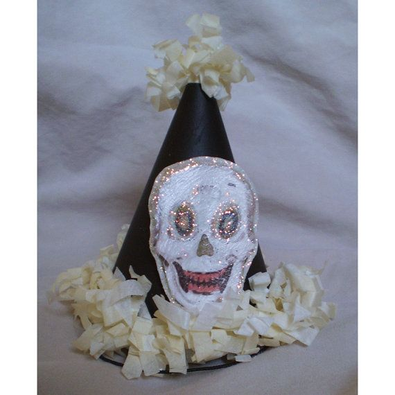 miniature party hat Halloween decoration spook skull vintage style - skull halloween decorations