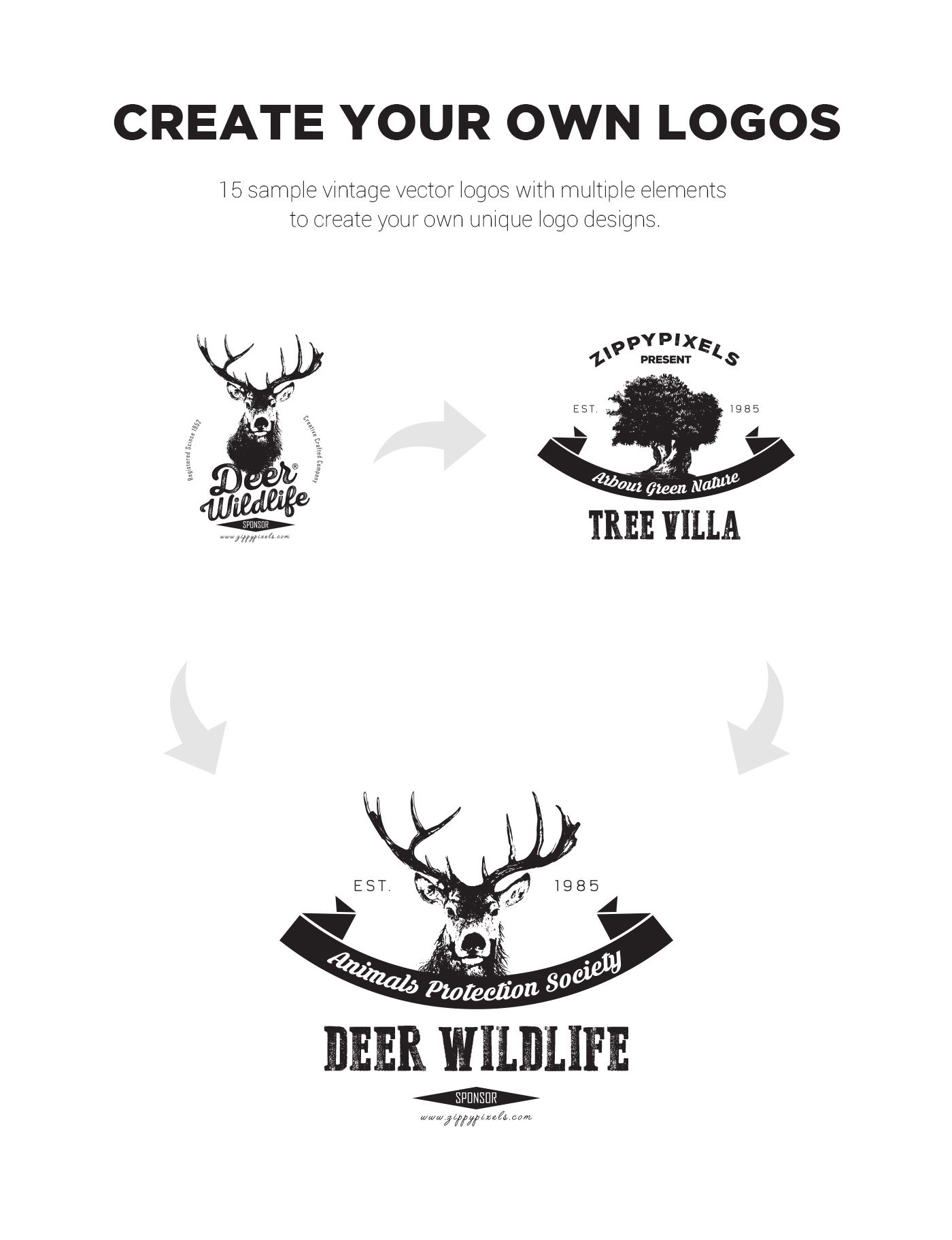 This free vintage logo design kit includes 15 beautifully
