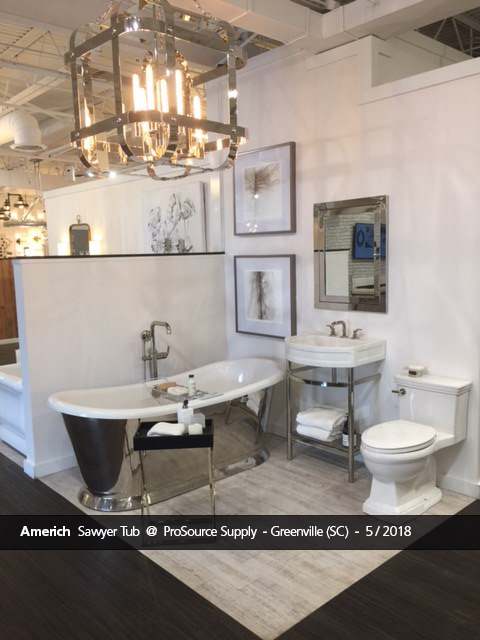 sawyer freestanding bathtub displayed at prosource supply in