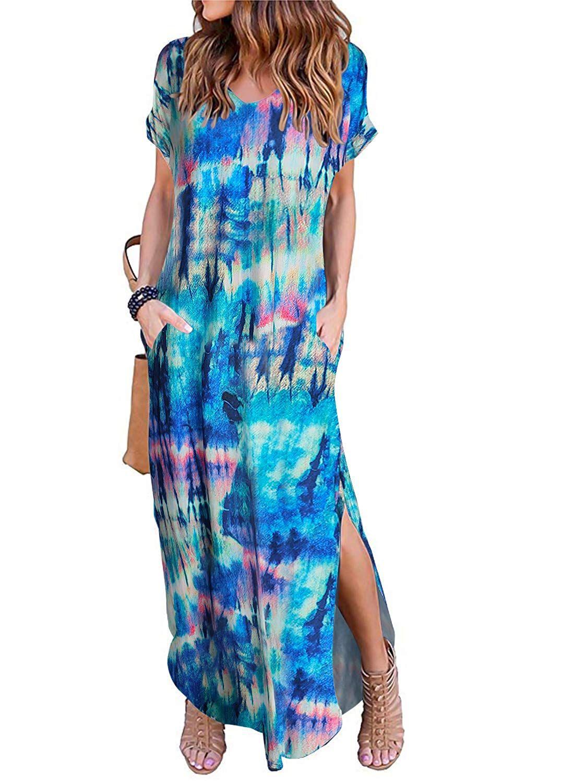 Women Short Sleeve V Neck Pocket Casual Side Split Beach Long Maxi Dress At Amazon Women Clothing St Amazon Affil Long Maxi Dress Fashion Short Sleeve Dresses [ 1500 x 1100 Pixel ]