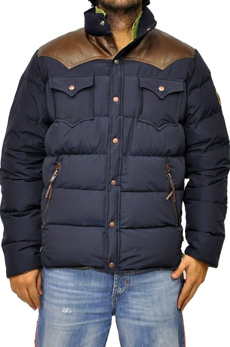 official photos 13557 50f20 Penfield giubbotto blu, con riporti in pelle marrone sulle ...