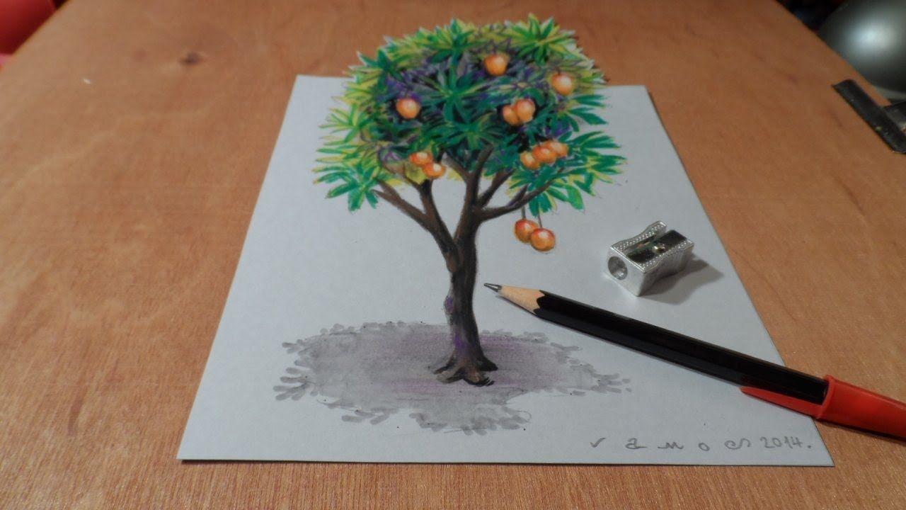 How I Draw A 3d Mango Tree Trick Art Time Lapse Art