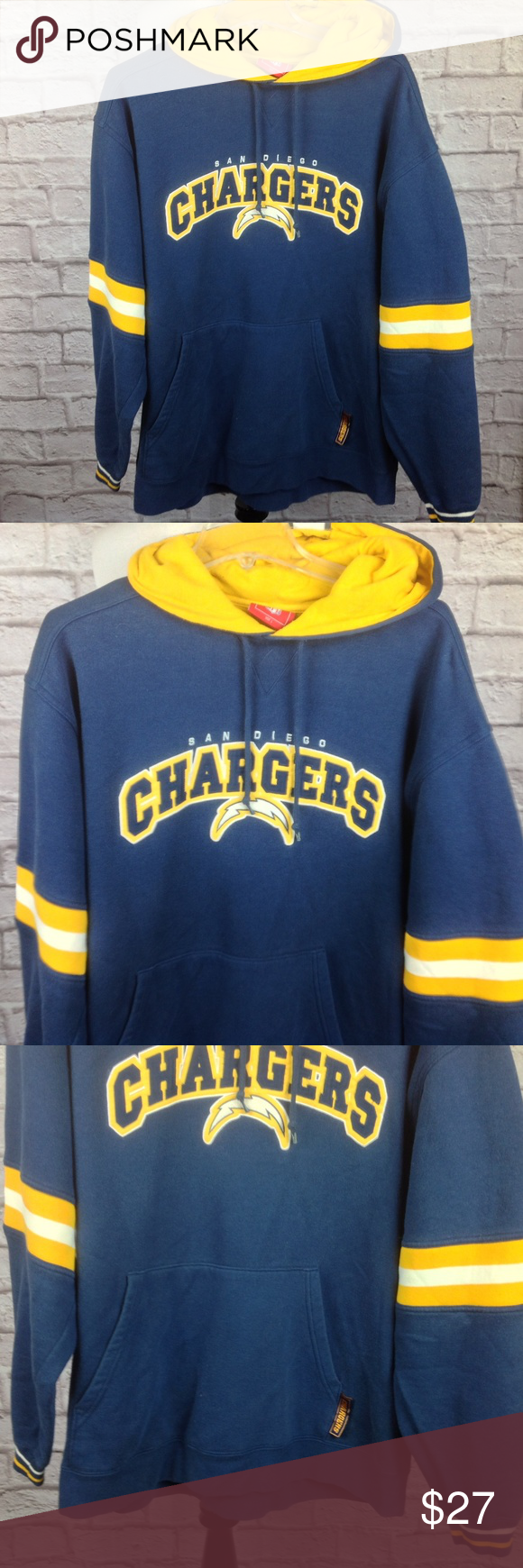 new product b4695 5bc4d NFL San Diego Chargers Hoodie Men Large Pouch Pock Great ...