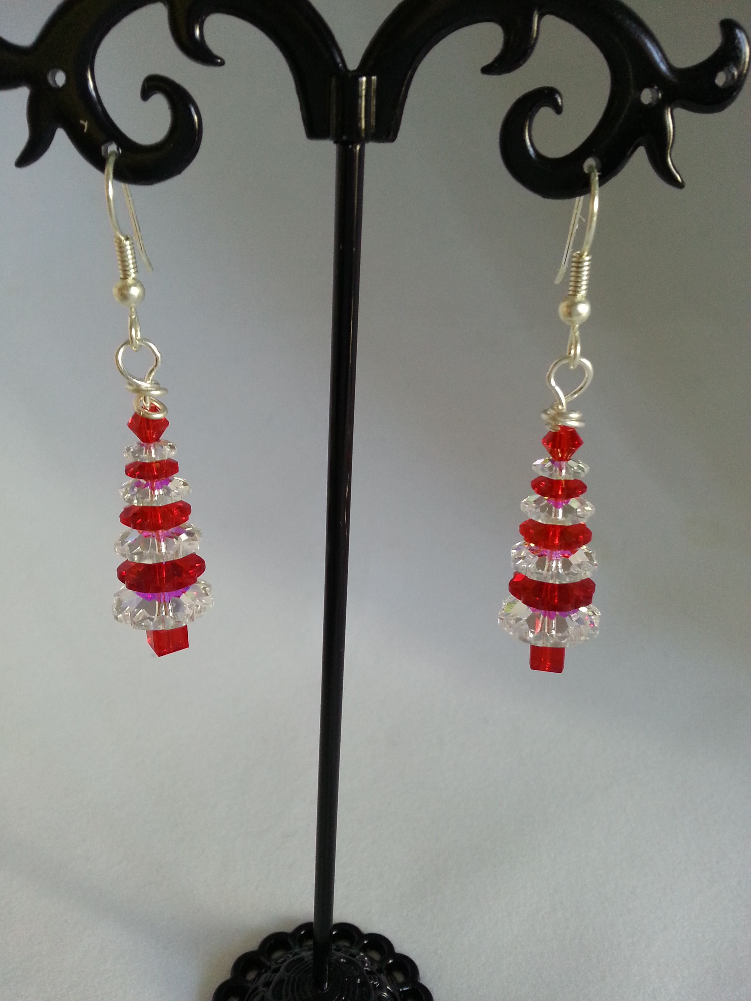 Genuine Swarovski crystal Christmas tree earrings - 7 tier red and clear