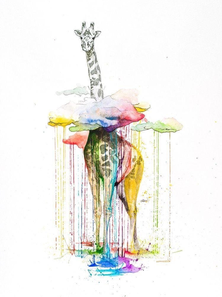 Drawing Of A Giraffe With Watercolour Drips Giraffe Art Art