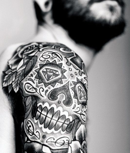 100 Sugar Skull Tattoo Designs For Men Cool Calavera Ink Ideas Mexican Skull Tattoos Sugar Skull Tattoos Candy Skull Tattoo