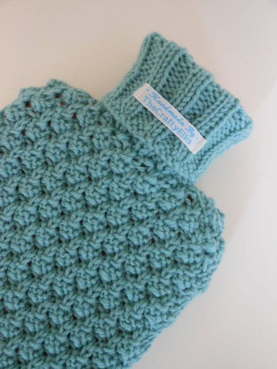 Hand Knitted Hot Water Bottle Cover Cosy In Mint Green 100