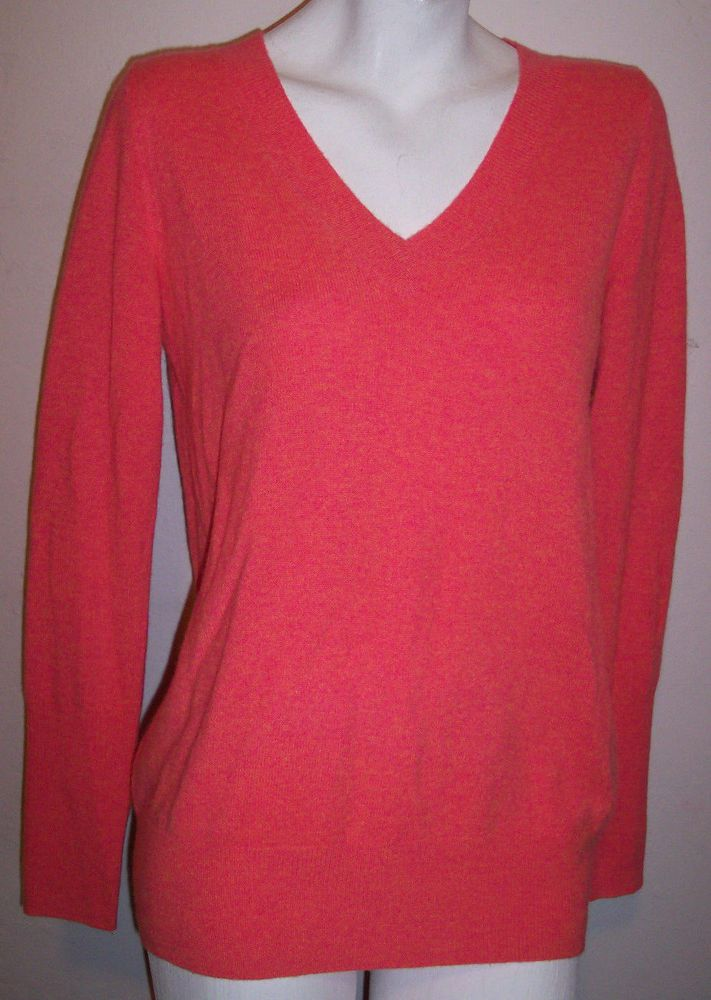 32f21333b7fa5 J Crew Sweater M Italian Cashmere Coral Pink Heathered V-Neck Pullover  Women s M  JCrew  VNeck