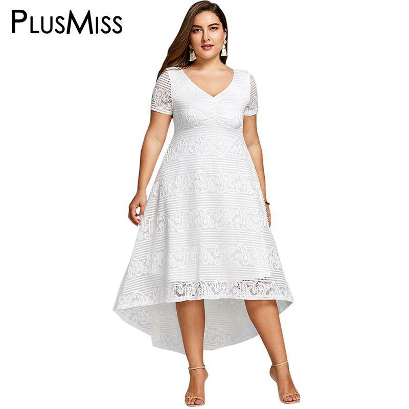 40a45603351 Aliexpress.com  Acheter PlusMiss Plus La Taille 5XL 4XL Blanc Dentelle  Crochet Élégant Parti robe D été 2018 À Manches Courtes Maxi Long Beach Robe  Femmes ...