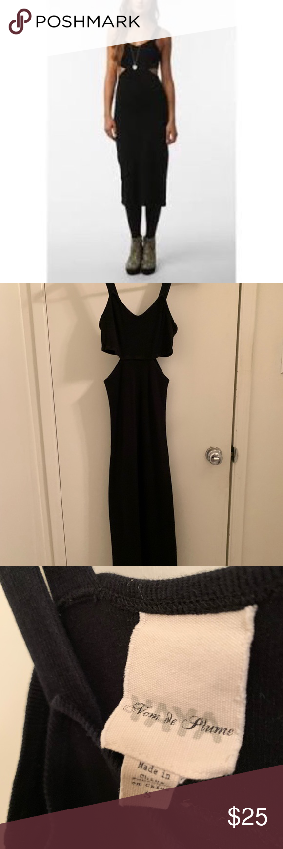 Urban Outfitters Yaya Nom De Plume Penny Dress Black Ribbed Midi Length Bodycon Dress With Side Cutouts Some Slight F Black Rib Bodycon Dress Urban Outfitters [ 1740 x 580 Pixel ]