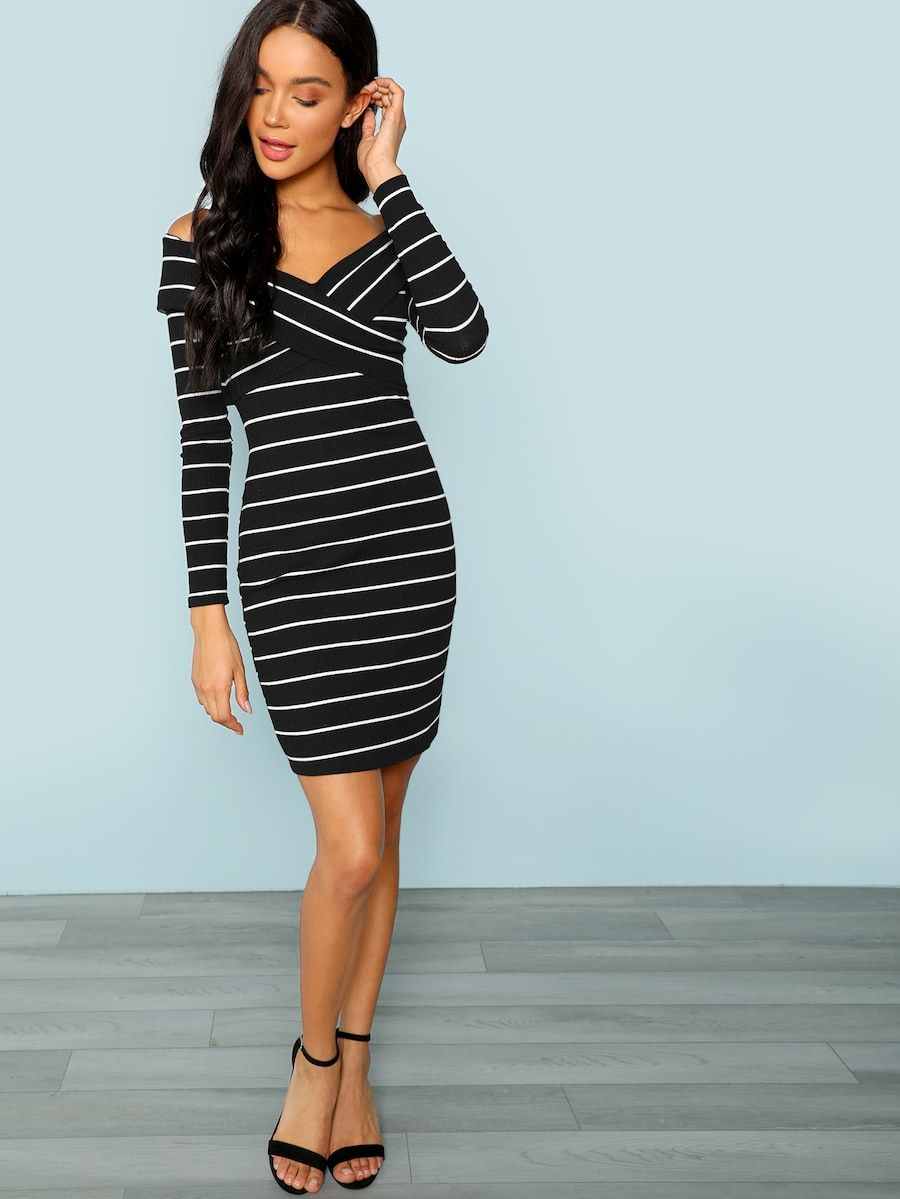 Cross Criss Striped Bodycon Dress Shein Sheinside Striped Bodycon Dress Bodycon Dress Dresses [ 1199 x 900 Pixel ]