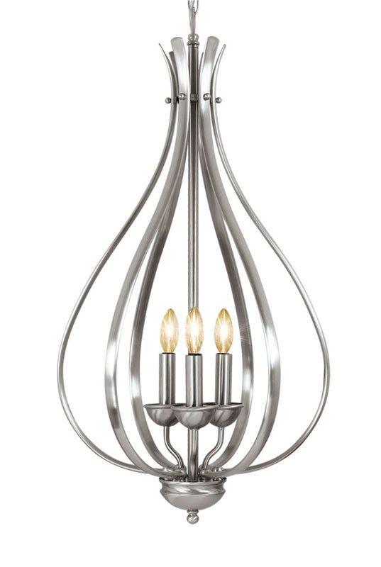 Woodbridge Lighting Beaconsfield 3 Light Satin Nickel Foyer