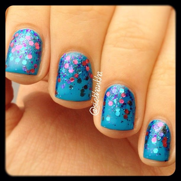 Sally Hansen Blue Me Away with glitter gradient of Sinful Colors Super Star and OPI Polka .com