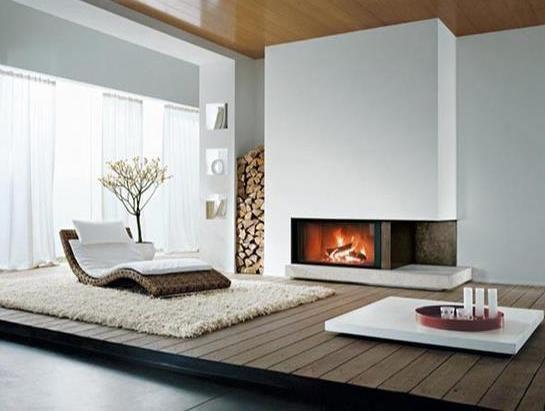 modernes interior design mit holzpodest und eckkamin weiß | kamin, Wohnzimmer dekoo