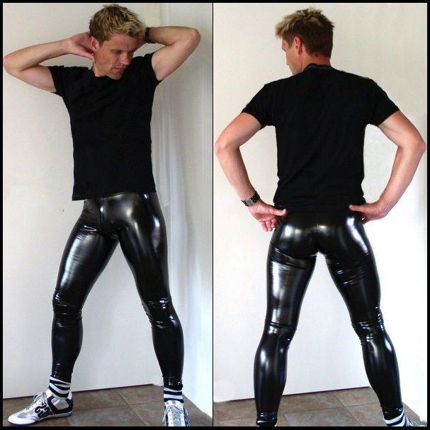"""Photo of Tilpassede menn & # 39; s SVART hud tette """"våte utseende"""" Zip Up Stretch Faux latex skinnbukser"""