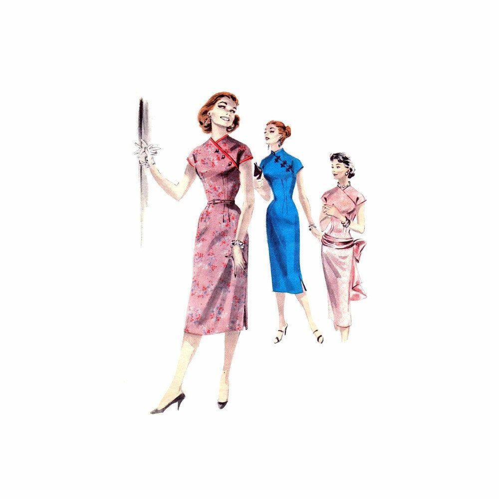 1950s cheongsam oriental sheath dress womens butterick 7718 1950s cheongsam oriental sheath dress womens butterick 7718 vintage sewing pattern size 13 bust 33 uncut jeuxipadfo Choice Image