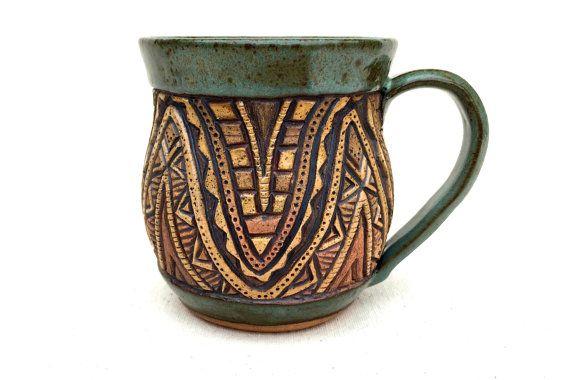 Aztec Wavy Hand Carved Mug Sage Green Textured