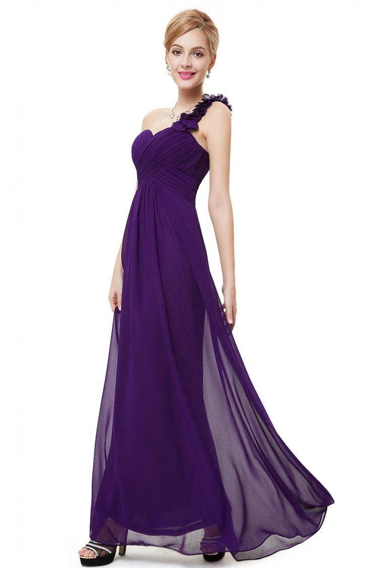 4856f480492d0 Dark Purple Flowers One Shoulder Chiffon Padded Bridesmaid Dress - $49  #EP09768DP - SheProm.com