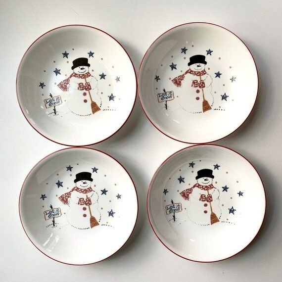 "Dinnerware Snowman Christmas Soup Cereal Bowl  /""Let it Snow/"""