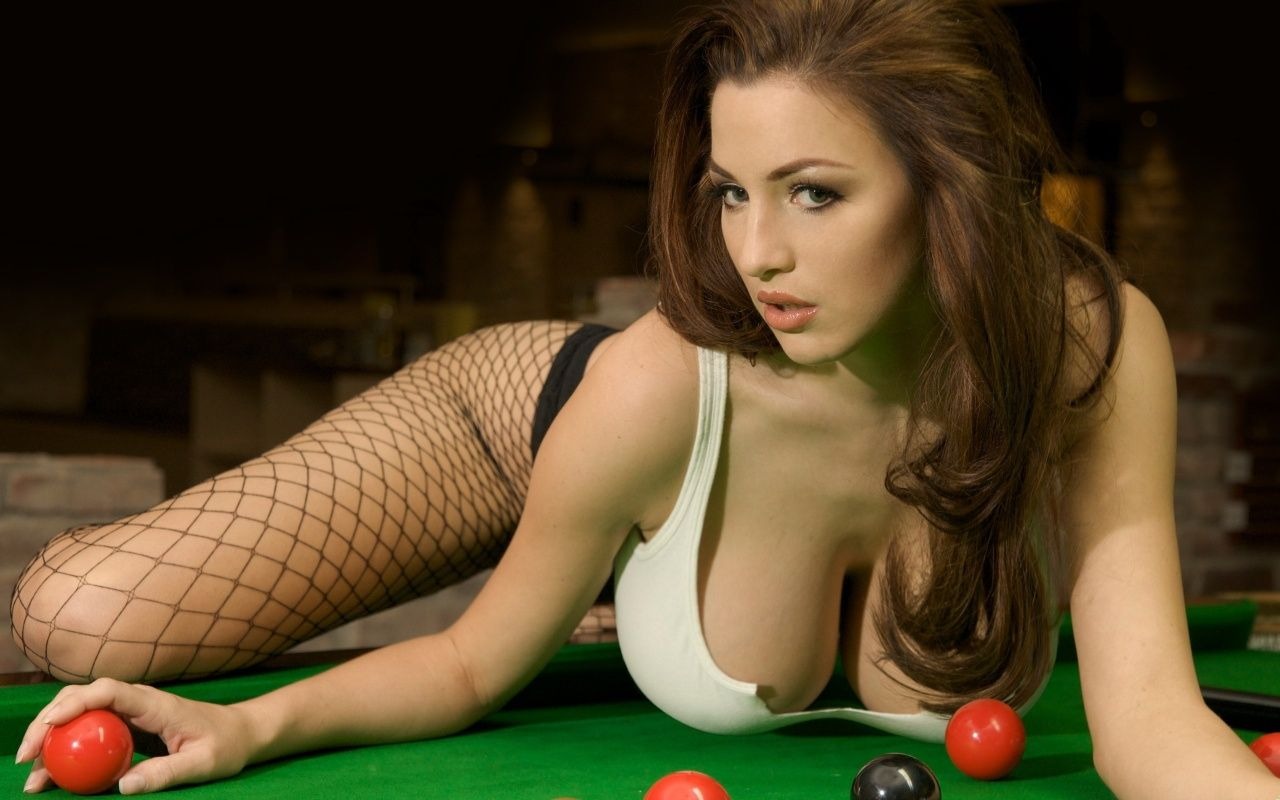 Join. Busty girl playing pool