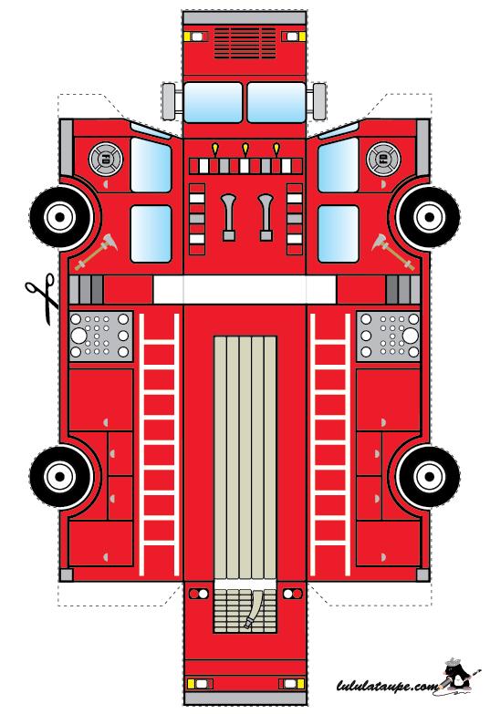 Un camion de pompier d couper pompjeen camion pompier f te de pompier et jeux pompier - Dessin pompier facile ...