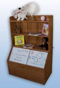 Solid Oak Wood Toy Box With Bookshelf Features Dry Erase Board Sliding Doors Built From Solid Oak Hard Kids Toy Boxes Wooden Toy Boxes Toy Box With Bookshelf