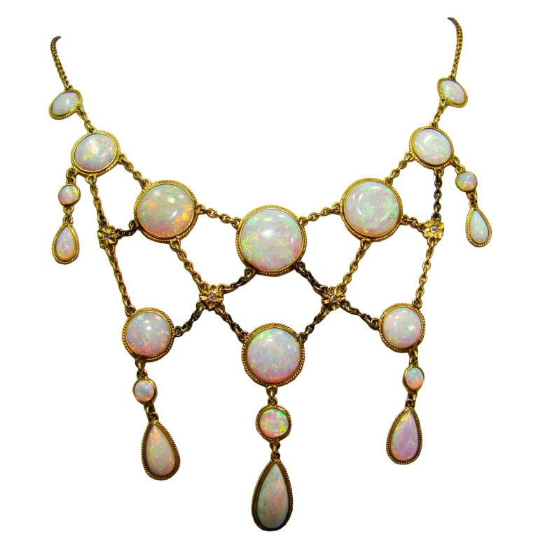 Victorian Opal and Diamond Necklace in 14K Yellow Gold